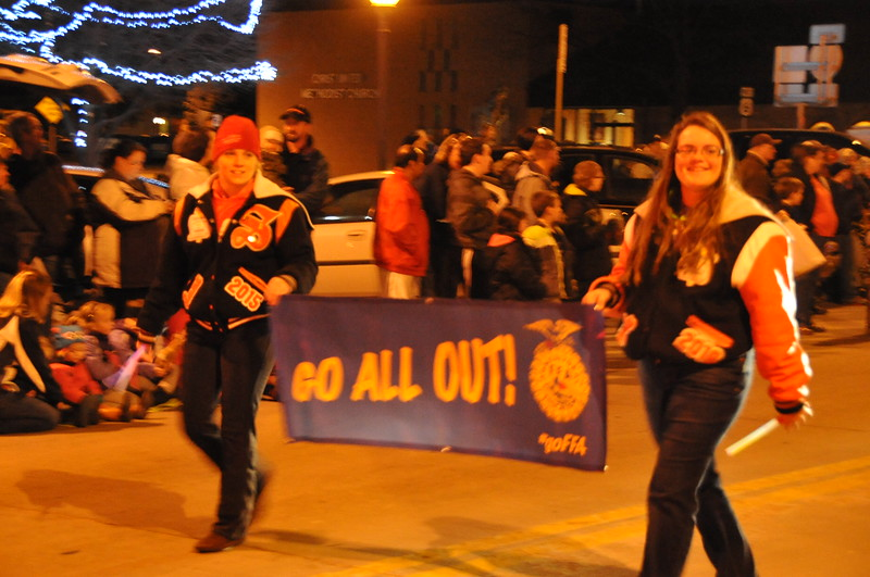 Sterling High School FFA in the Logan County Chamber of Commerce's Parade of Lights , Dec. 4, 2014, in downtown Sterling
