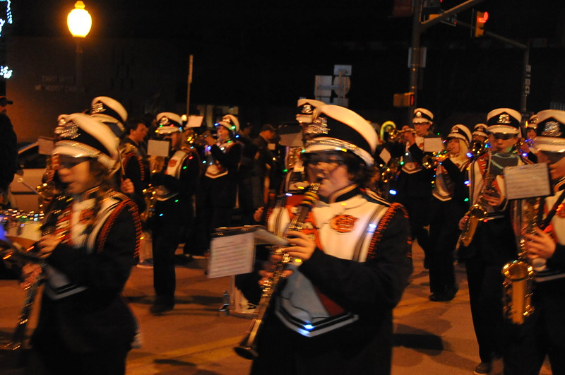 The Sterling High School marching band, at  the Logan County Chamber of Commerce's Parade of Lights , Dec. 4, 2014, in downtown Sterling