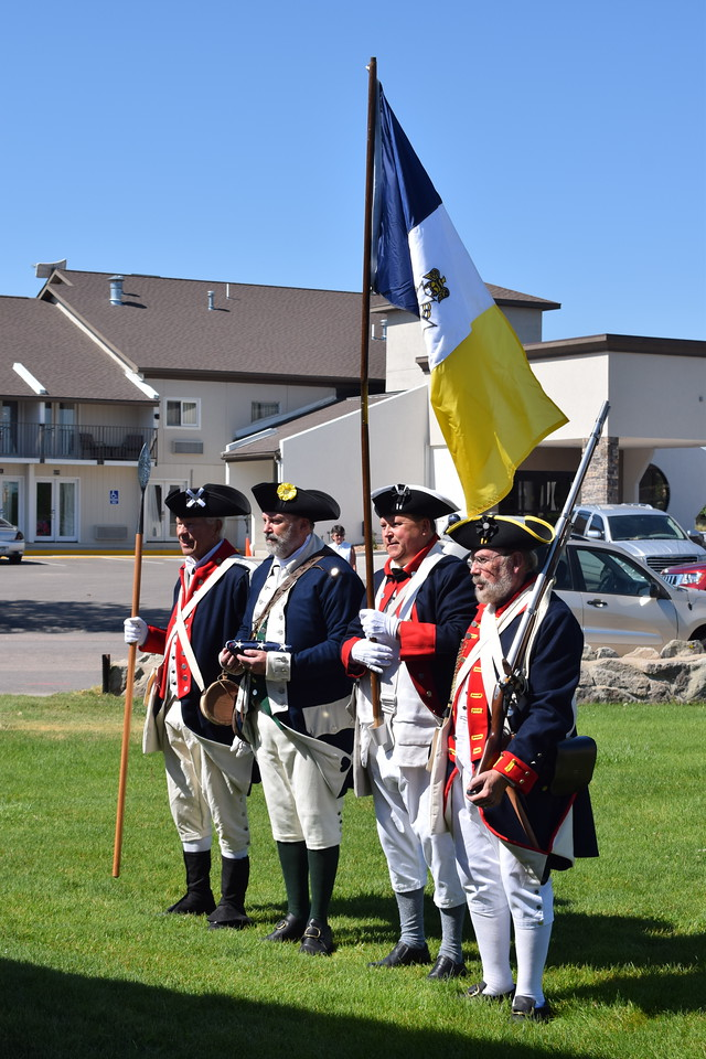 Members of the Sons of the American Revolution before the opening ceremony of the Overland Trail Museum's annual Heritage Festival Tuesday, July 4, 2017.