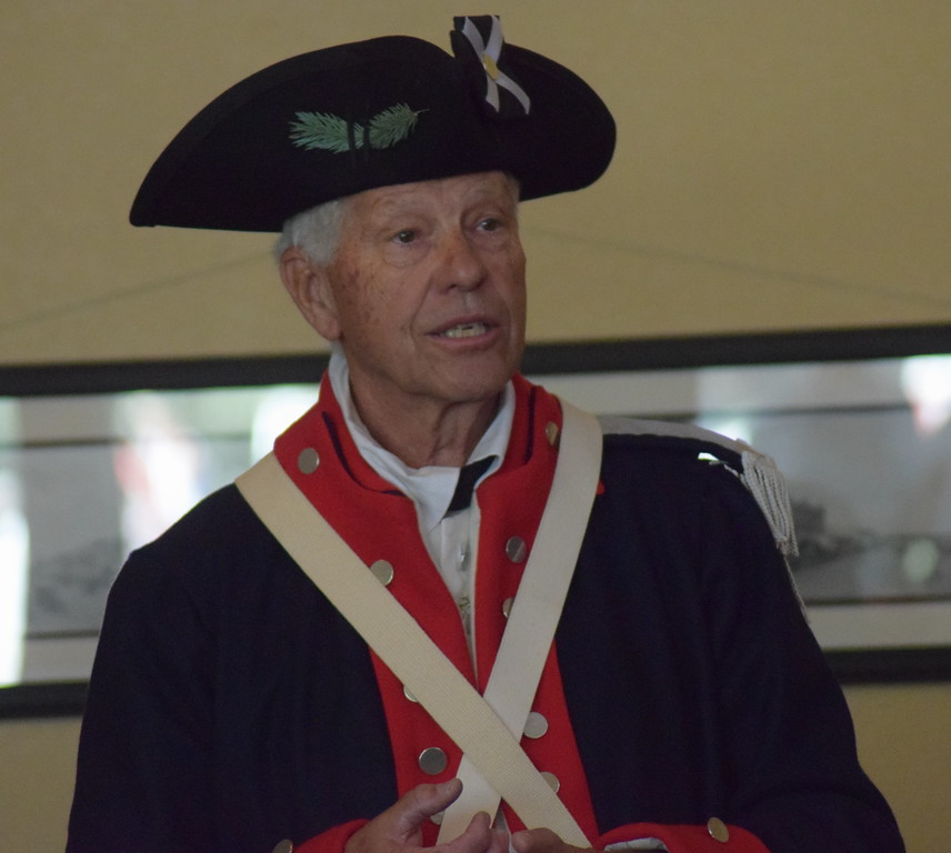 Bob Easterly of the Sons of the American Revolution speaks during the group's Patriot's Chest presentation in the High Plains Education Center at the Overland Trail Museum July 4, 2017.
