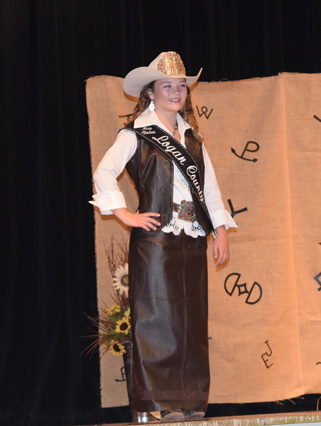 Miss Rodeo Logan County 2018 Morgan Duncan models her outfit during the Logan County Fair 4-H Fashion Revue Friday, Aug. 3, 2018.