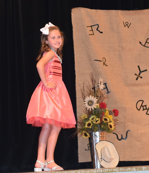 Taylor Tribbet models her dress in the Encore Division of the Logan County Fair 4-H Fashion Revue Friday, Aug. 3, 2018.