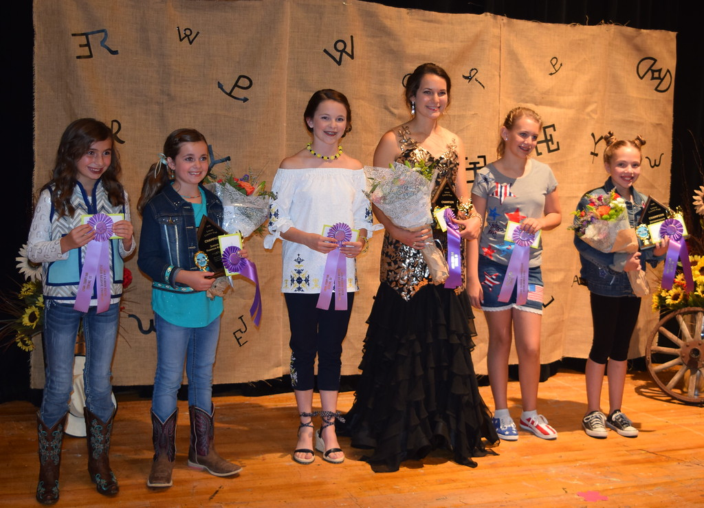 . Pictured are the award winners at the Logan County Fair 4-H Fashion Revue Friday, Aug. 3, 2018. From left; Alexis Gentry, Reserve Champion Junior Division; Hadley Stull, Champion Junior Division; Aly Young, Reserve Champion Senior Division and Champion Encore Division; Rachael Northup, Champion Senior Division; Ashton Nichols, Reserve Champion Intermediate Division; and Ayla Baney, Champion Intermediate Division.