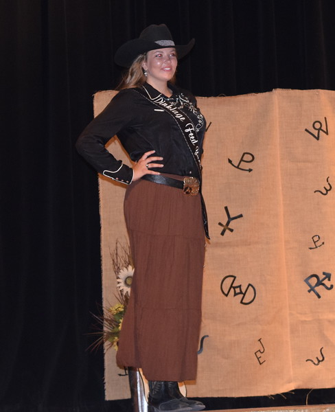 Miss Rodeo Logan County 2019 Contestant Brooke Sigmon models her outfit during the Logan County Fair 4-H Fashion Revue Friday, Aug. 3, 2018.