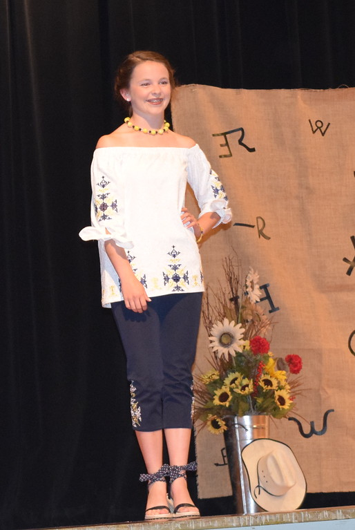 . Aly Young models her shirt and pants outfit in the Senior Division of the Logan County Fair 4-H Fashion Revue Friday, Aug. 3, 2018. She was named Reserve Champion in the division and will represent Logan County at the Colorado State Fair.