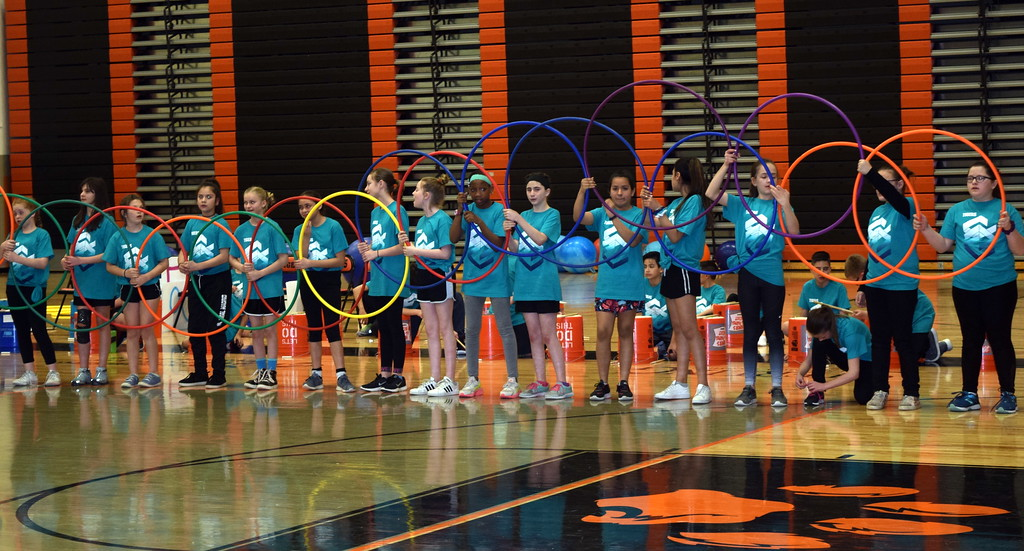 ". Students show off their hula hoop skills to the songs ""Move Like Jager\"" and \""Cha Cha Slide\"" at Campbell Elementary\'s annual 5th Grade Music and P.E. Showcase Tuesday, March 12, 2019."
