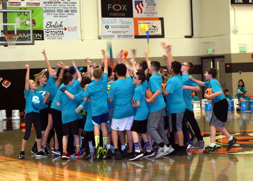 ". Fifth graders gather for a cheer after demonstrating their sports abilities to the song ""Hall of Fame\""  at Campbell Elementary\'s annual Music and P.E. Showcase Tuesday, March 12, 2019."