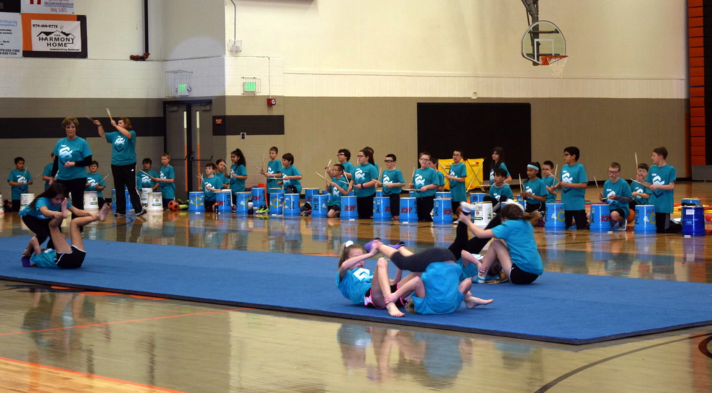 ". Students show off their tumbling skills to the song ""Billie Jean\"" at Campbell Elementary\'s annual 5th Grade Music and P.E. Showcase Tuesday, March 12, 2019."