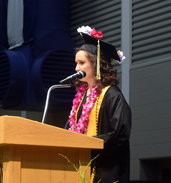 Valedictorian Alexia Hernandez gives remarks at the conclusion of Caliche High School's Commencement Ceremony Saturday, May 25, 2019.