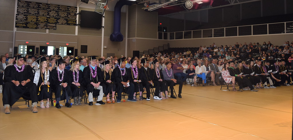 . Caliche High School graduates listen to a speaker at the commencement ceremony Saturday, May 25, 2016.