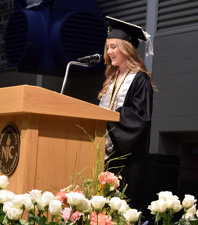 . Salutatorian Cristen Houghton gives remarks at Caliche High School\'s Commencement Ceremony Saturday, May 25, 2019.