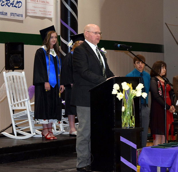 Fleming School Superintendent Steve McCracken welcomes graduates, families, faculty and guests to commencement ceremony Sunday, May 19, 2019.