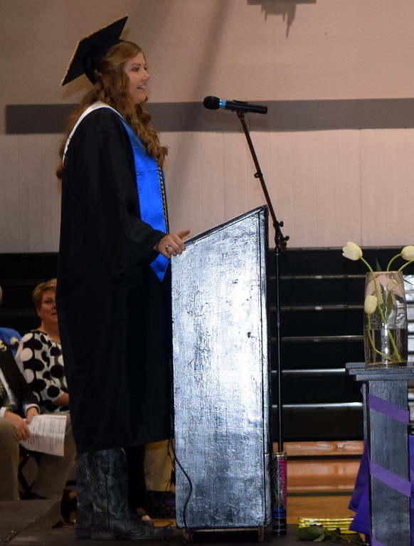 . Valedictorian Brooke Sigmon gives remarks during the Fleming High School Commencement Ceremony Sunday, May 19, 2019.