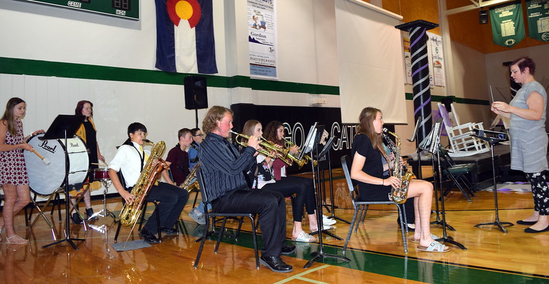 "The Fleming High School Band, under the direction of Marlana Nyholt, performs ""Pomp and Circumstance"" as graduates make their way into the gym during the commencement ceremony Sunday, May 19, 2019."