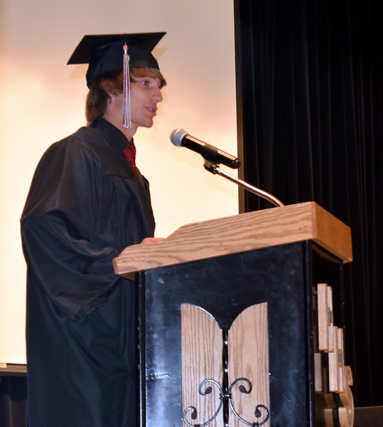 Haxtun High School graduate Drew Coffin gives the welcome at the start of the commencement ceremony Sunday, May 19, 2019.