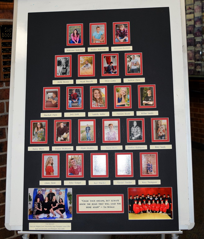 . The Haxtun High School 2019 class composite sits in the lobby during the commencement ceremony Sunday, May 19, 2019.