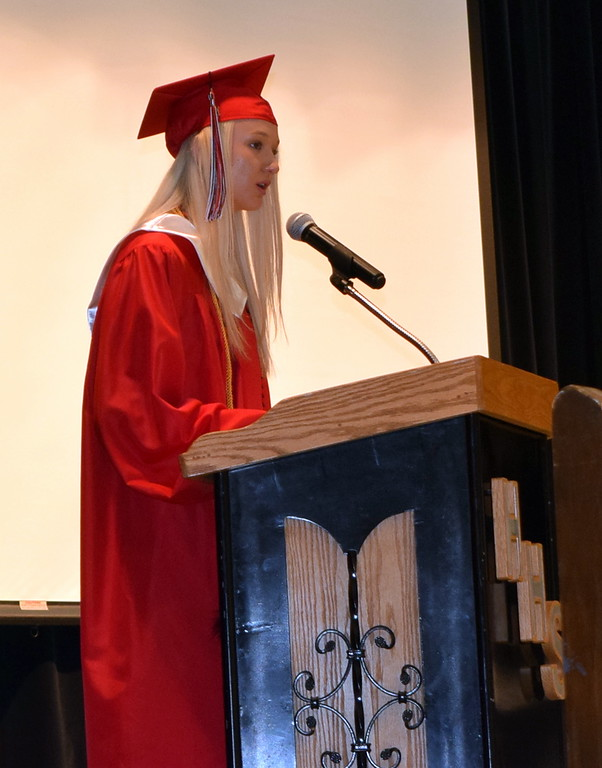 . One of Haxtun High School\'s salutatorian\'s, Dawson Knode, gives remarks at the commencement ceremony Sunday, May 19, 2019.