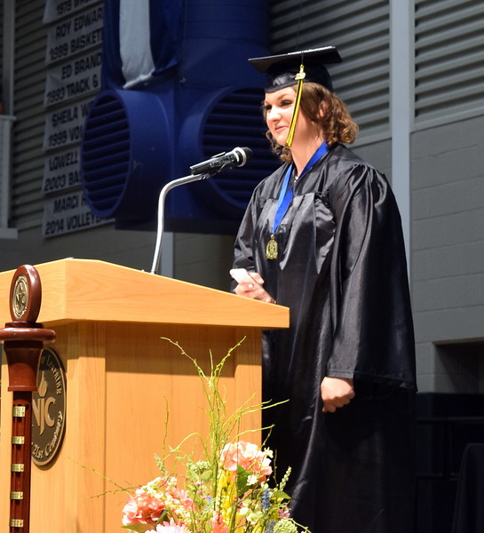 Stephanie Bushnell give the benediction to close Northeastern Junior College's Commencement Ceremony Friday, May 17, 2019.