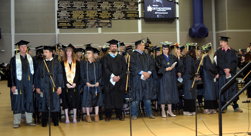 . Northeastern Junior College graduates wait for the commencement ceremony to begin Friday, May 17, 2019.