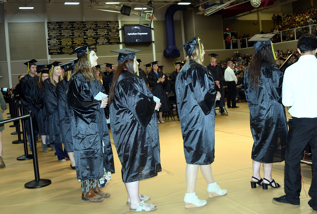 . Agriculture students wait to receive their degrees or certificates at Northeastern Junior College\'s Commencement Ceremony Friday, May 17, 2019.