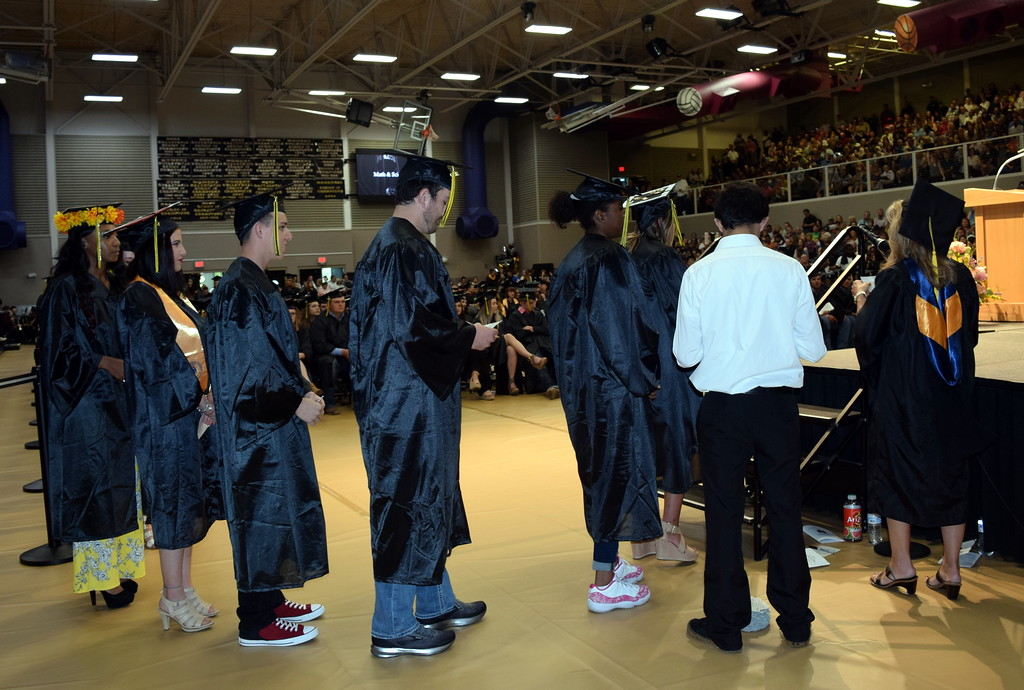 . Science and math students wait their turn to receive their degrees/certificates at Northeastern Junior College\'s Commencement Ceremony Friday, May 17, 2019.