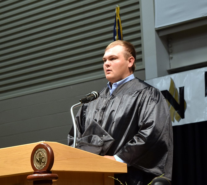 James Ommen gives the invocation at Northeastern Junior College's Commencement Ceremony Friday, May 17, 2019.