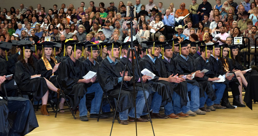 . Northeastern Junior College students listen to a speaker at the commencement ceremony Friday, May 17, 2019.