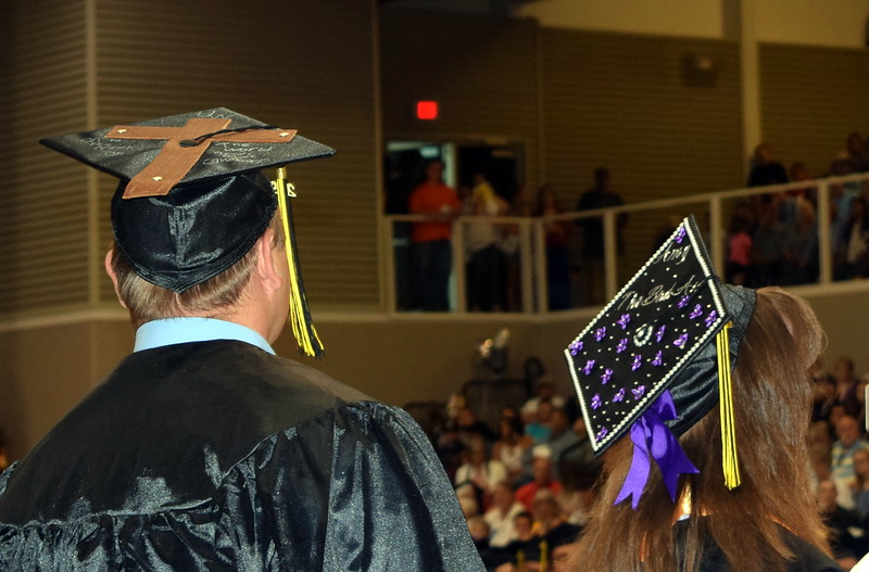 Graduates decorated their caps in all kinds of decorations for Northeastern Junior College's Commencement Ceremony Friday, May 17, 2019.