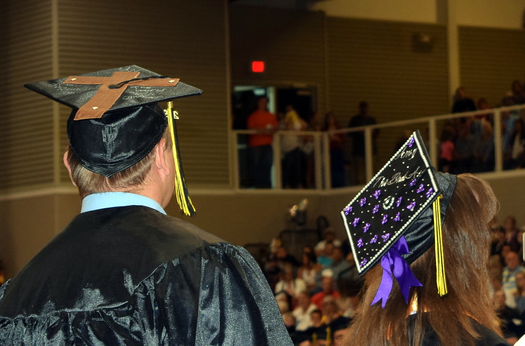 . Graduates decorated their caps in all kinds of decorations for Northeastern Junior College\'s Commencement Ceremony Friday, May 17, 2019.