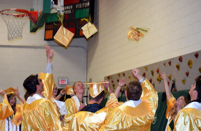 Peetz School graduates celebrate at the conclusion of the Commencement Ceremony Sunday, May 12, 2019.