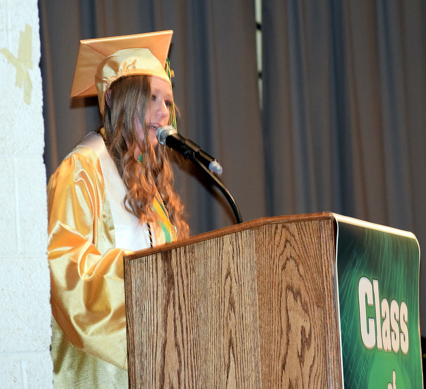 . Valedictorian Sarah Davis gives remarks at Peetz School\'s Commencement Ceremony Sunday, May 12, 2019.