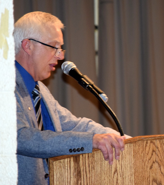. Superintendent Mark Collard gives some final advice to the graduates at Peetz School\'s Commencement Ceremony Sunday, May 12, 2019.