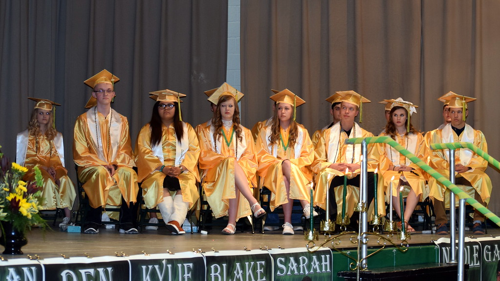 . Peetz High School\'s Class of 2019 listens to remarks at the school\'s Commencement Ceremony Sunday, May 12, 2019.