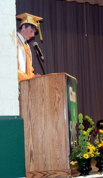Dominick Naegele gives the invocation at Peetz School's Commencement Ceremony Sunday, May 12, 2019.