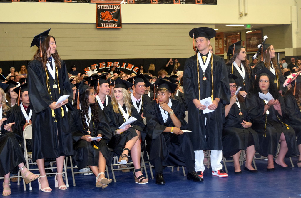 . Graduates earning a 3.75 or above grade point average are recognized at Sterling High School\'s Commencement Ceremony Saturday, May 25, 2019.