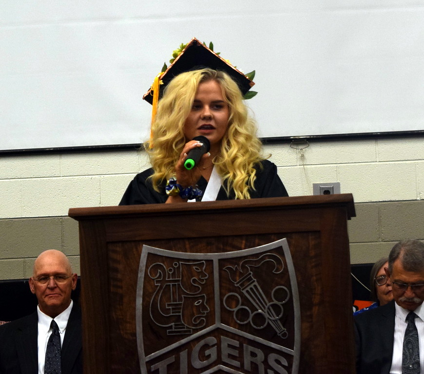 . Makenna Mckenna May, student council president, gives the farewell address at Sterling High School\'s Commencement Ceremony Saturday, May 25, 2019.