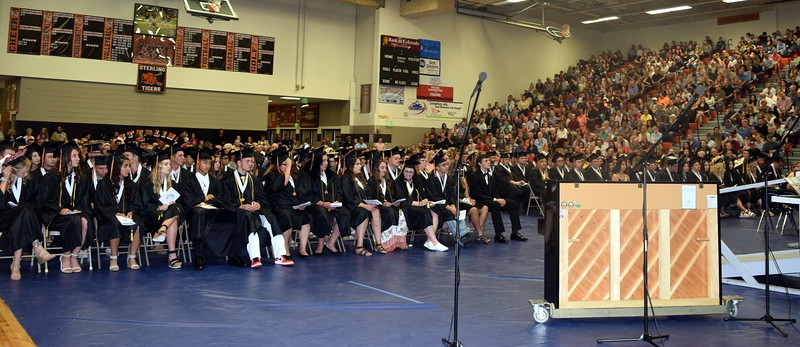 Sterling High School graduates listen to a speaker at the commencement ceremony Saturday, May 25, 2019.