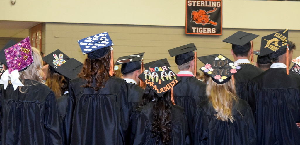 . Sterling High School graduates caps were decorated in a variety of themes for the commencement ceremony Saturday, May 25, 2019.