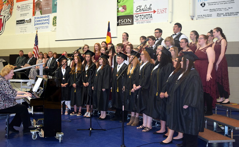 "The Sterling High School Jazz Choir and Senior Concert Choir Members perform ""The Sterling High School Class of 2019 Mas-Up"" at the commencement ceremony Saturday, May 25, 2019."