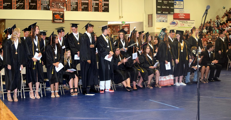 Graduate receiving scholarships are recognized at Sterling High School's Commencement Ceremony Saturday, May 25, 2019.