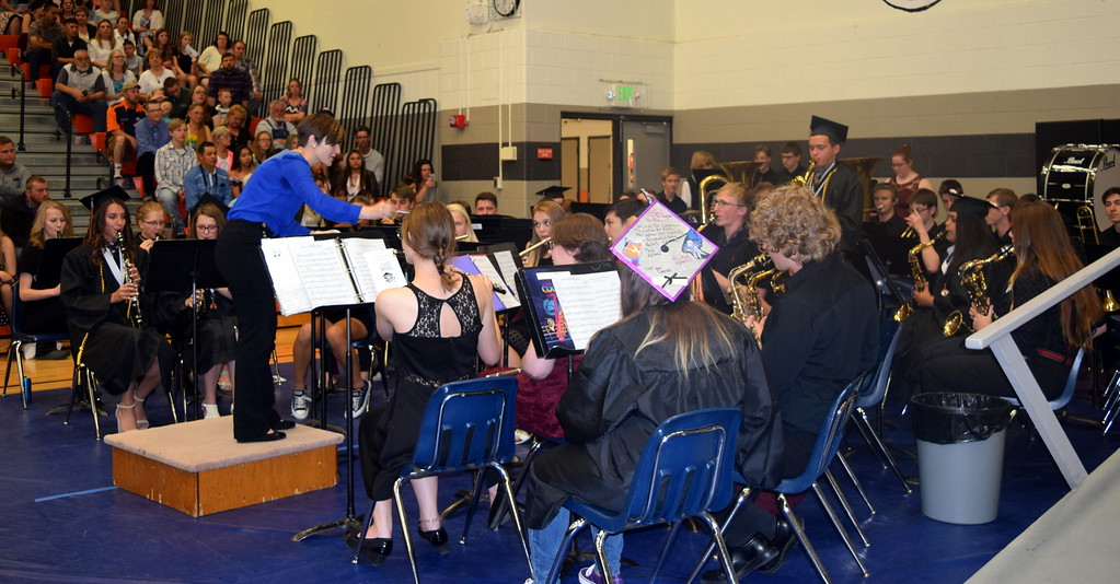 ". The Sterling High School Band performs ""Don\'t Stop Me Now,\"" under the direction of Risa Lamorie, during the school\'s commencement ceremony Saturday, May 25, 2019."