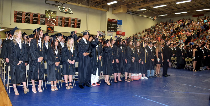 Sterling High School graduates wait for the commencement ceremony to start Saturday, May 25, 2019.