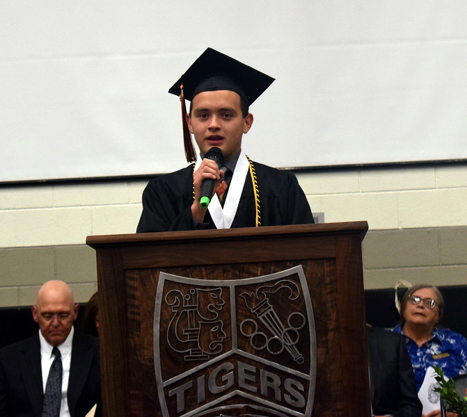 Adam Hernandez, senior class president, gives the opening address at Sterling High School's Commencement Ceremony Saturday, May 25, 2019.