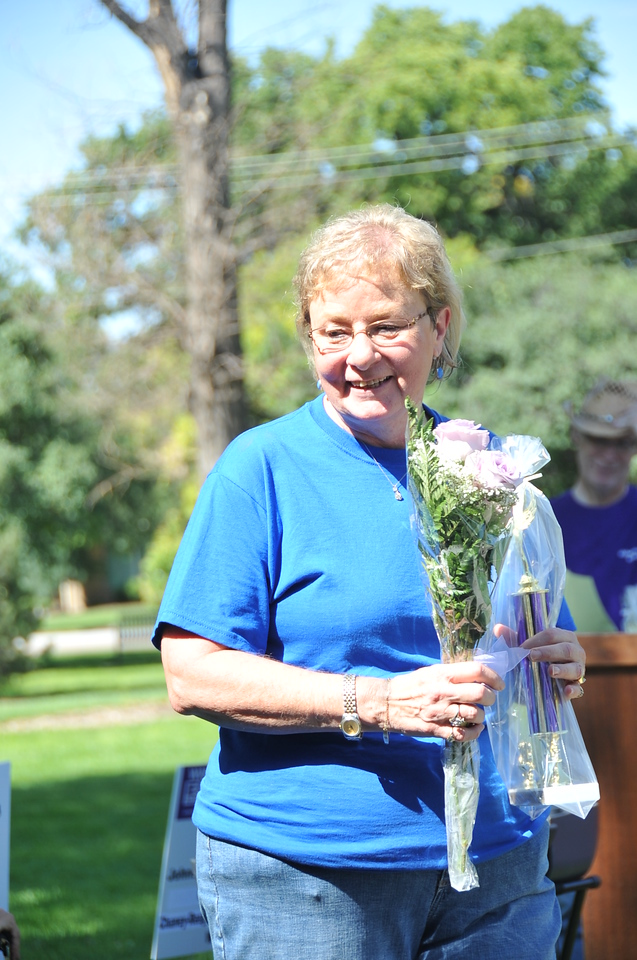 Connie Clark was honored as the top individual fundraiser, and her team Bob's Walkers the top team, at the Walk to End Alzheimer's Saturday, Aug. 24, 2013, at Columbine Park.