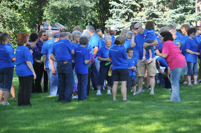 Bob's Walkers gather in Columbine Park for the Walk to End Alzheimer's Saturday, Aug. 24, 2013.