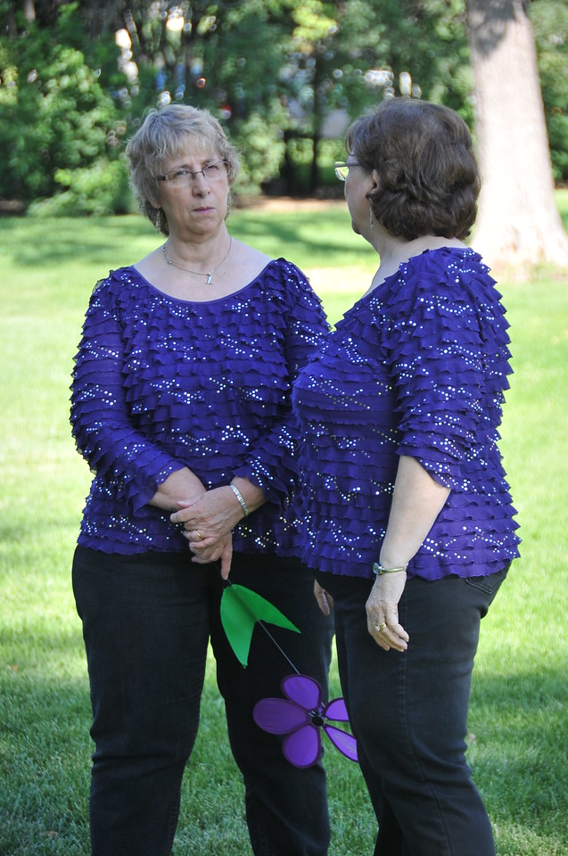 Betty Zimmerman and Dene Carter chat prior to the start of the Walk to End Alzheimer's Saturday, Aug. 24, 2013, at Columbine Park.