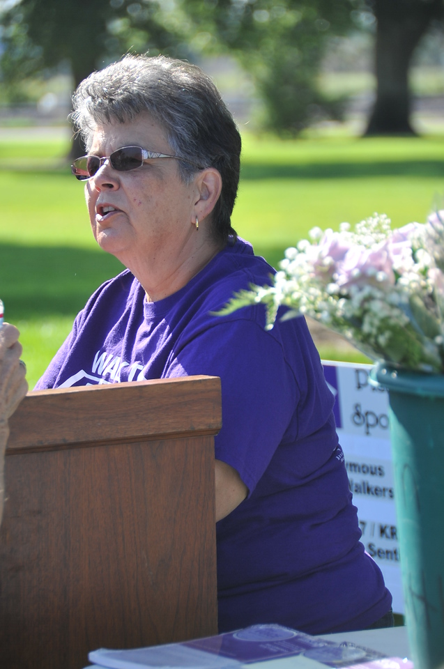 Kathy Kaufman served as emcee at this year's Walk to End Alzheimer's Saturday, Aug. 24, at Columbine Park. She will return as chair for the 2014 event.