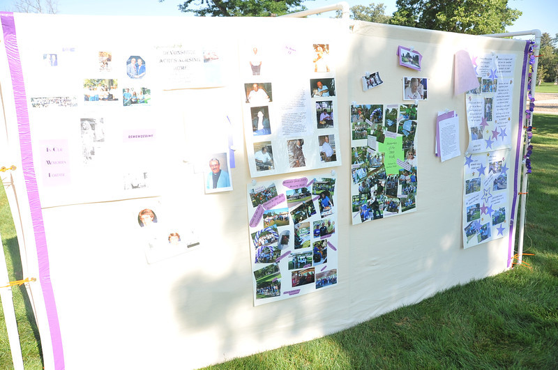 The Memory Wall at the Walk to End Alzheimer's honors people who have or died from Alzheimer's disease, as well as showing pictures from past walks.