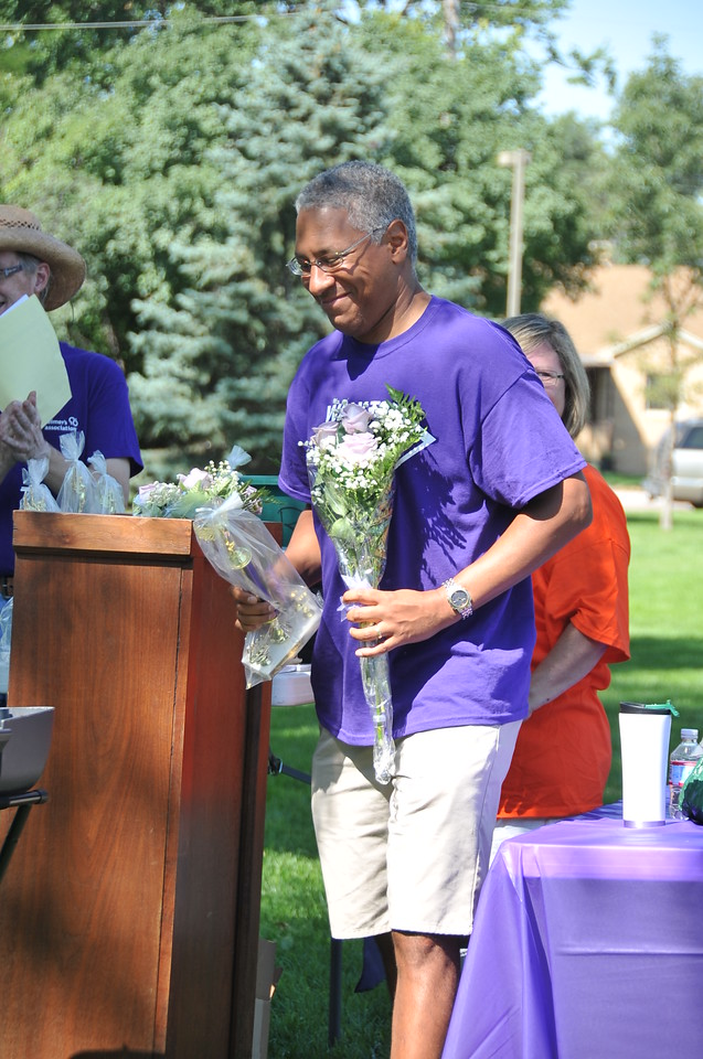 Francis Brown was the second place fundraiser at this year's Walk to End Alzheimer's Saturday, Aug. 24, 2013, at Columbine Park.