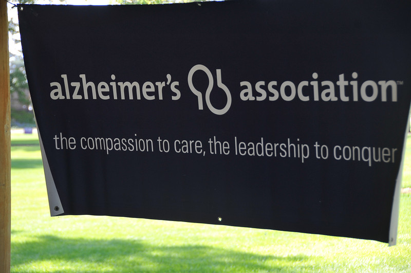 A banner hanging in the Columbine Park pavilion during the Walk to End Alzheimer's Saturday, Aug. 24, 2013.